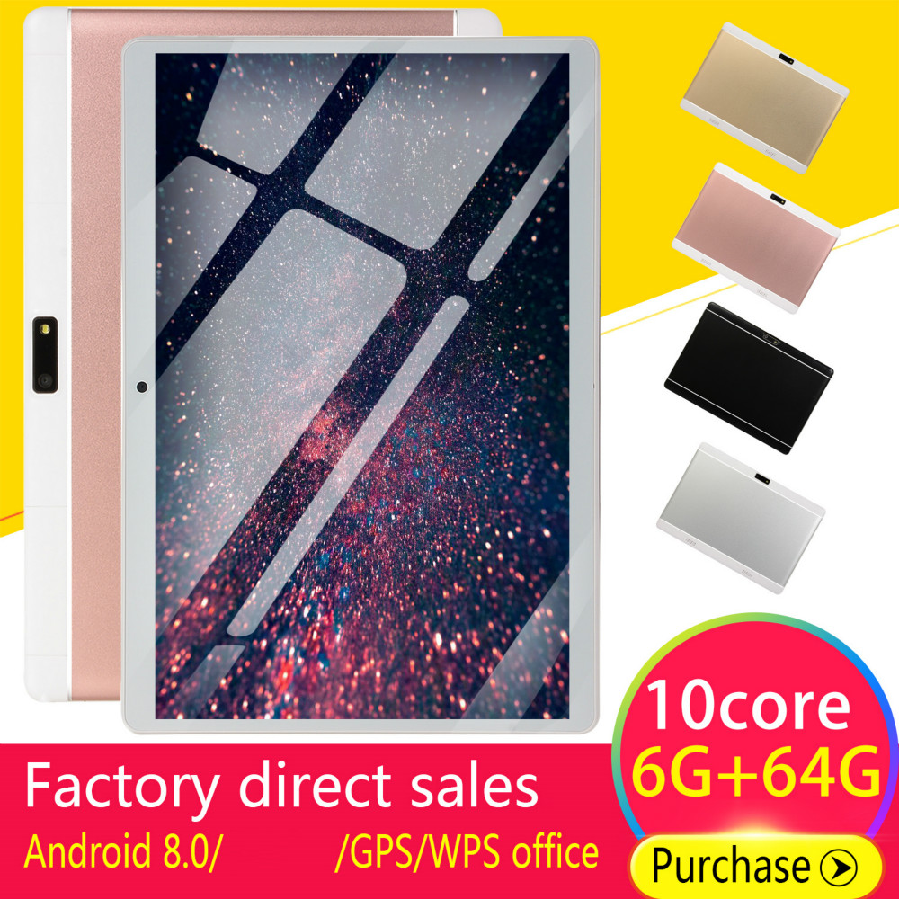 New WiFi Tablet  Screen 10\ Inch Ten Core 6G+64G  Dual SIM Dual Camera Rear Android8.0