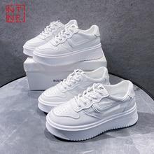 Baskets blanches pour femmes, chaussures de sport vulcanisées, respirantes, décontractées à plateforme, nouvelle collection été 2021