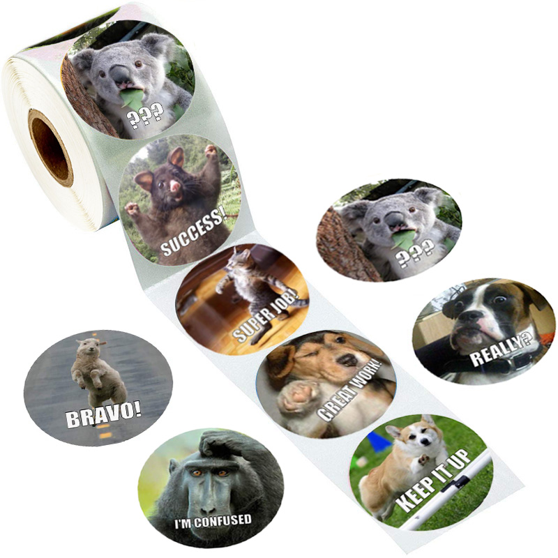 500 Pcs/pack Animals Funny Sticker Teacher Reward Stickers School Student Encouragement Words For Children Toy Sticker