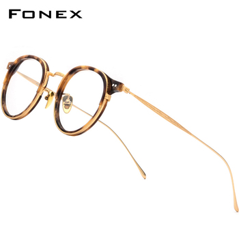 FONEX Titanium Optical Glasses Frame Men Vintage Round Prescription Eyeglasses Women Retro Myopia Acetate Spectacles Eyewear 850 acetate glasses frame men square prescription eyeglasses new women male nerd myopia optical clear spectacles eyewear fonex