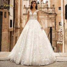 Loverxu V צוואר קו תחרת חתונת שמלות עדין אפליקציות שווי שרוול כפתור הכלה שמלות משפט רכבת כלה שמלות בתוספת גודל