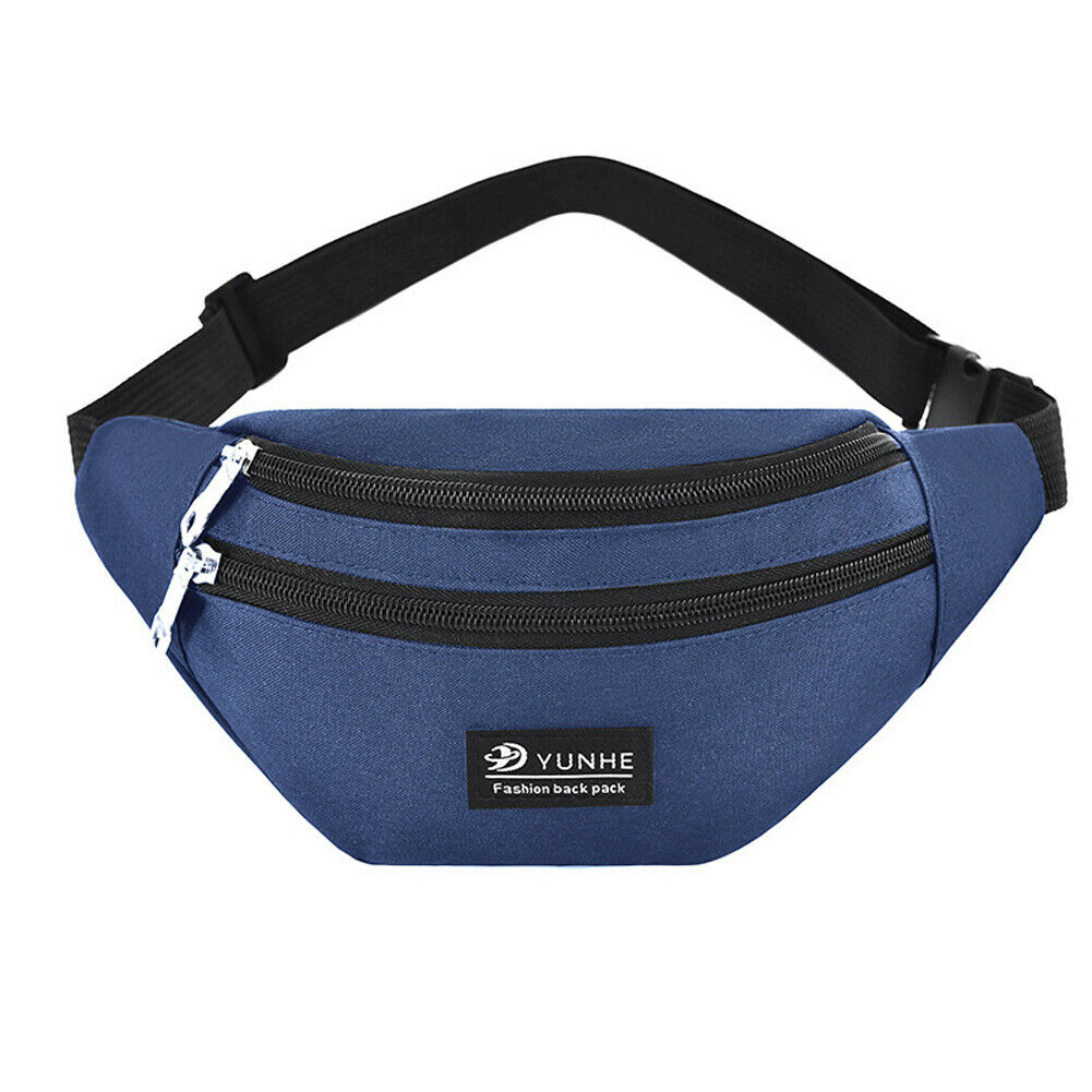 Men Women Waist Bag Fanny Pack Phone Key Cards Belt Clutch Purse Wallet Casual Bag Gray Blue Black Pink