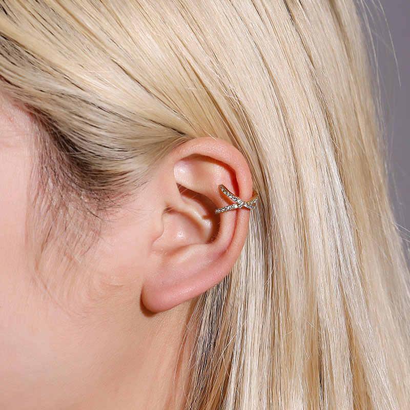 En popüler çapraz U şeklinde kulak klipsi küpe basit alaşım Set burgu olmadan kulak deliği küpe kadınlar moda takı küpe