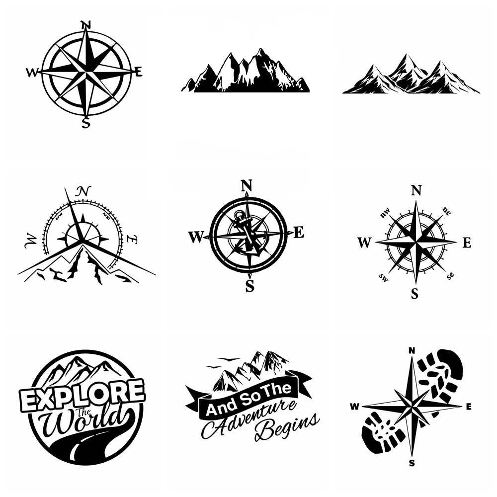Hot Sale Compass And Mountains Adventure Car Sticker Wrap Vinyl Art Pattern Decor Car Stickers Accessories