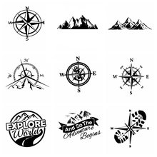 Hot Sale Compass and Mountains Adventure Car Sticker Wrap Vinyl Art Pattern Decor Car stickers Accessories(China)