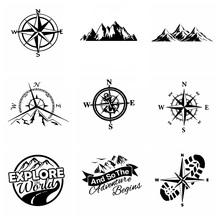 Hot Sale Large Compass Car Sticker Mountains Adventure Funny Wrap Vinyl Art Pattern Decor Cars Accessories наклейки на авто