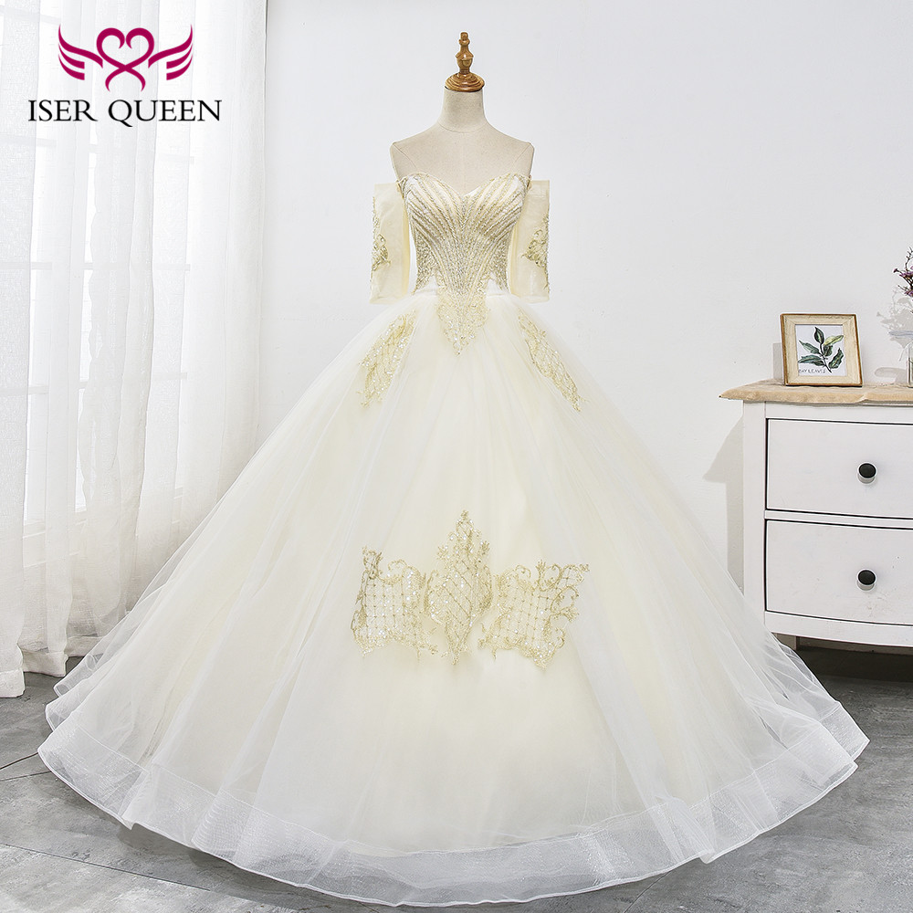 Luxury Half Sleeves Delicate Embroidery Sequined Beading Ball Gown Wedding Dress Lace up Ivory ashley carol Princess WX0025