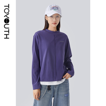 Toyouth Women Tops Stand Collar Sport Style Long Sleeve Blue Purple Casual Basic T-shirt