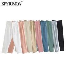 KPYTOMOA-pantalones a la moda con costura para Mujer, ropa de oficina, Vintage, de cintura alta, con cremallera, tobilleros, 2021