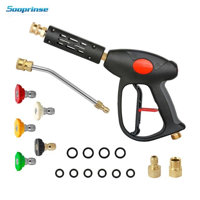 Hochdruck Washer Gun Power Spray Gun 4000psi mit 19 zoll Verlängerung Ersatz Zauberstab Lance, 5 Quick Connect Düsen Top verkauf