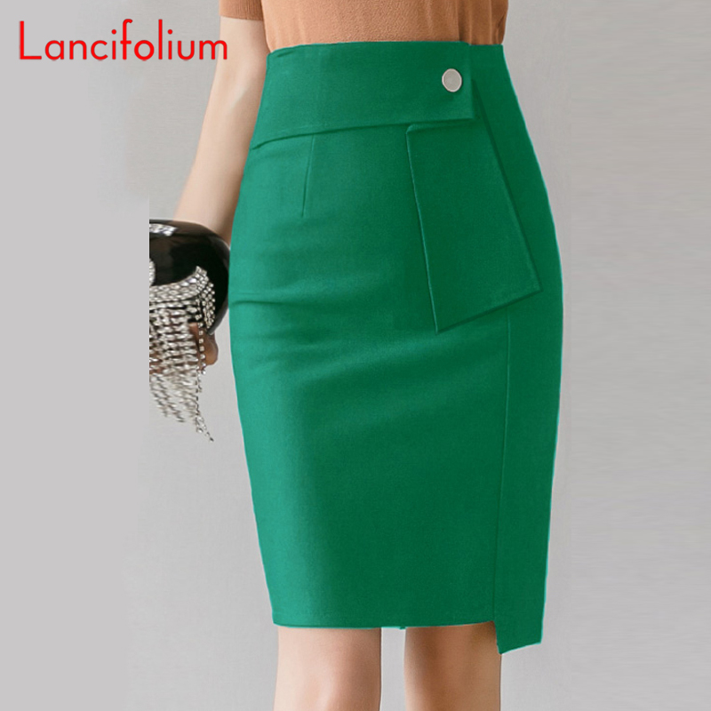 Sexy Bodycon Office Pencil Skirt Women 2020 Summer Korean Green Black Mini Skirt Ladies Plus Size High Waist Skirt Femme Skort image