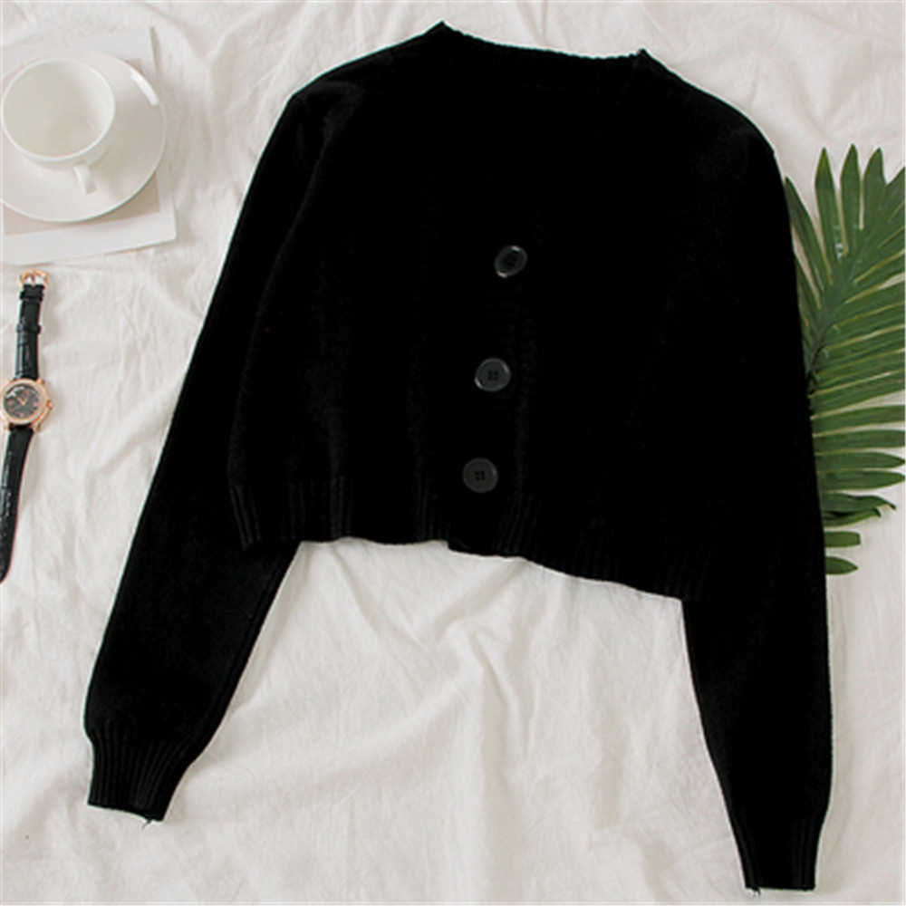 Women's Cropped Cardigan Sweaters Female Black White Short Sweater V Neck Single Breasted Sweater Woman Knitted Cardigan tops