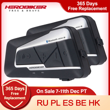 HEROBIKER 2ชุด1200M BT หมวกนิรภัยรถจักรยานยนต์กันน้ำไร้สาย Bluetooth Moto ชุดหูฟัง Interphone วิทยุ FM สำหรับ2 Rides