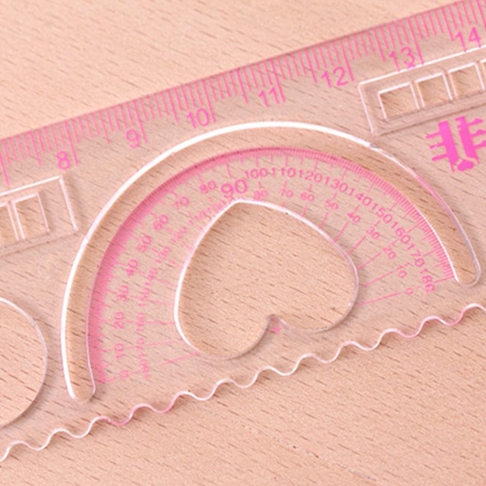 5Pcs DIY Cute Kawaii Candy Color Plastic Ruler For Kids Painting Rule Straight Supplies School Template Drawing D0K9