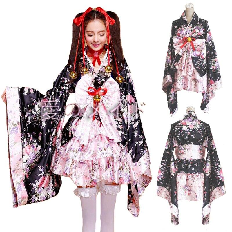 Women Princess Kawaii Lolita Dress Girls Kimono Sexy Cosplay Costumes Cute Loli Skirt Fashion Sweet Vestido Halloween Party Wear