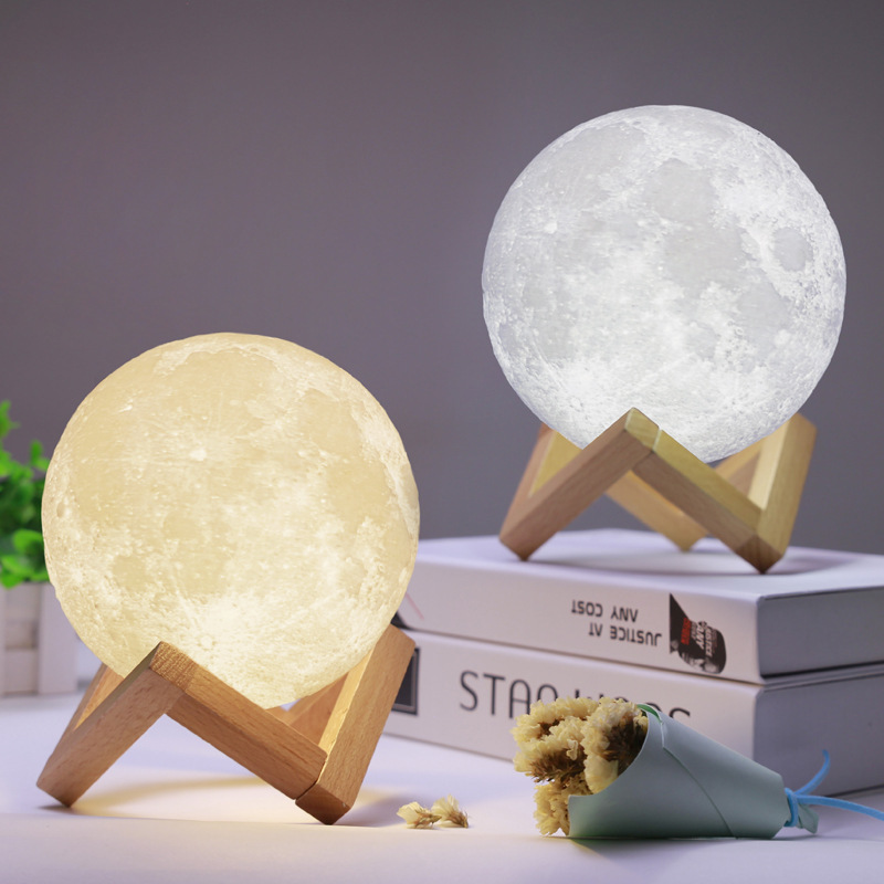3D Print  LED Lava Rechargeable Moon Lamp Touch Control Dimming Kid Study Bedroom USB Night Light Home Decoration Creative Gift