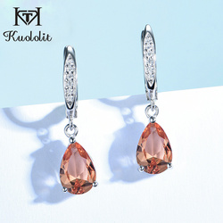 Kuololit Zultanite Gemstone Clip Earrings for Women Solid 925 Sterling Silver Created Color Change Earrings Wedding Fine Jewelry