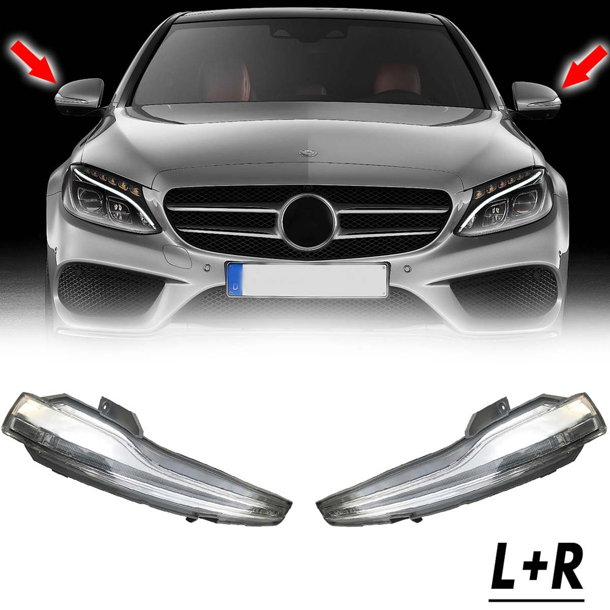 1 Piar Amber Side <font><b>LED</b></font> Rearview Mirror Turn Signal Light Wing Indicator Lamp For <font><b>Mercedes</b></font> For <font><b>Benz</b></font> CLASS <font><b>W205</b></font> W222 W213 X205 image