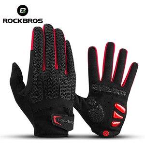 Image 1 - ROCKBROS guanti da ciclismo antivento Touch Screen equitazione MTB guanti da bici guanti termici caldi per moto guanti da bici autunno inverno
