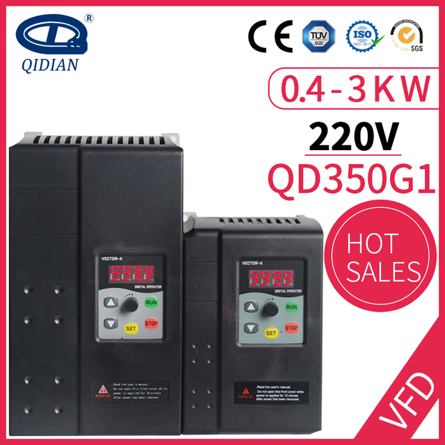 QD350 0.4kw 0.75kw 1.5kw 2.2kw 3kw 1 phase 220v input and 3 phase 220v output 50Hz 60Hz frequency converter ac motor drive Inverters & Converters    -