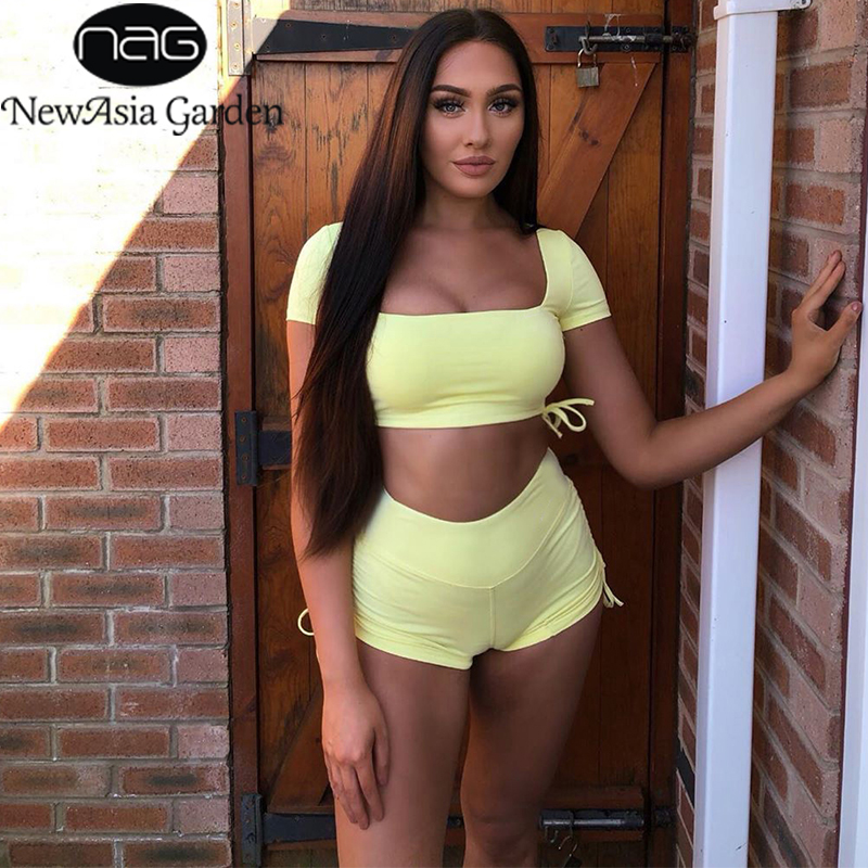 NewAsia 2 Layers Elastic Crop Top Set And Drawstring Shorts Bacless Hollow Sexy 2 Pieces Set Women Home Clothes Tracksuit Outfit