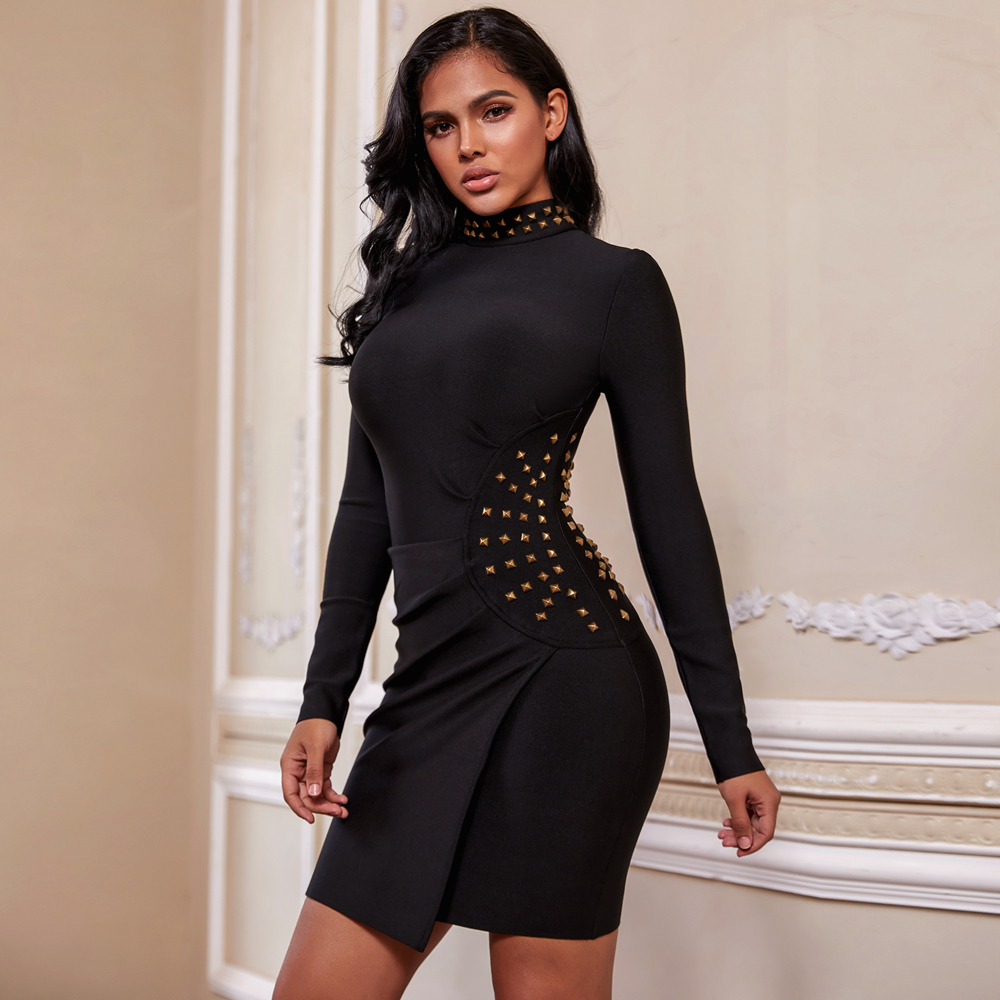 Ocstrade Black High Neck Long Sleeve Mini Wrinkled Metal Ornamental Buckle Bandage Dress PF19174-Black