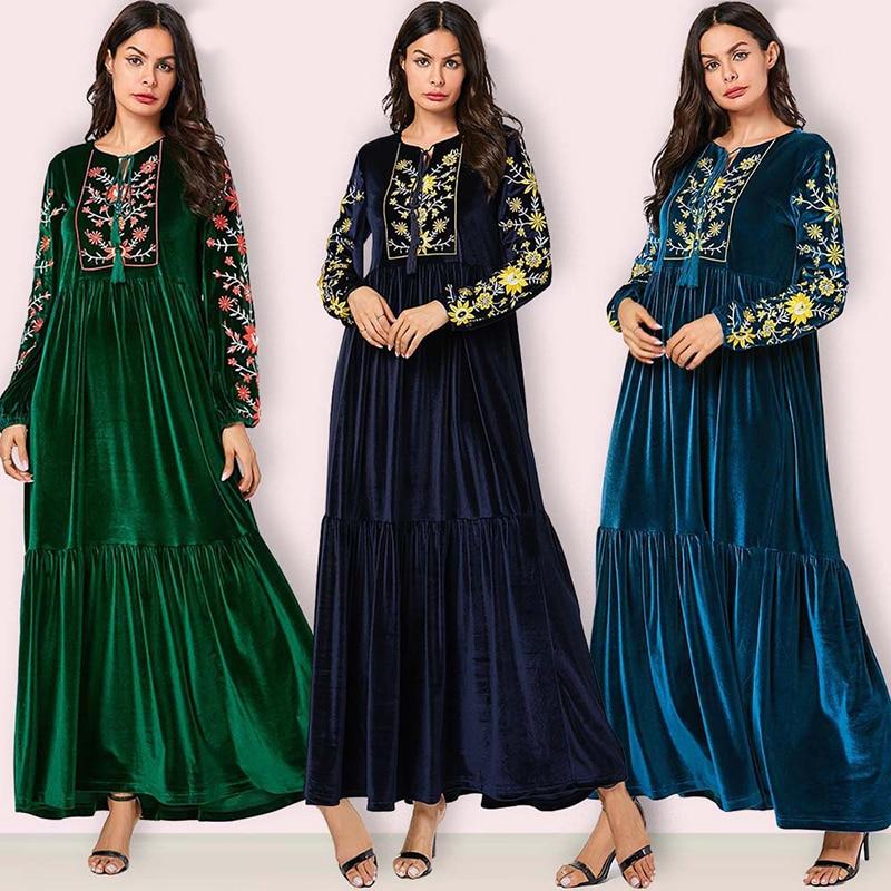 Velvet Abaya Dubai Turkish Muslim Dress Turkey Hijab Dress Abayas Islamic Clothing For Women Moroccan Kaftan Caftan Robe Turque