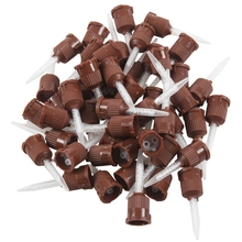 50x Dental Impression Tip Temporary 1: 1 Silicone Rubber, 50X Brown Straight Tip