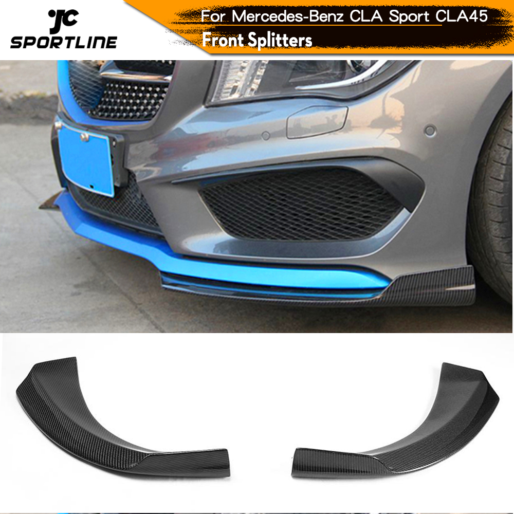 Carbon Fiber / FRP Front Bumper Lip Splitters Side Aprons for <font><b>Mercedes</b></font>-Benz <font><b>W117</b></font> CLA250 CLA260 CLA45 AMG Sedan 2013 - 2015 image