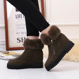Image 3 - SWYIVY espadrilles décontractées femmes chaussures compensées femme bottes dhiver 2019 neige chaude plate forme femme chaussons court en peluche bottines femme