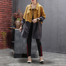 [EWQ] 2020 Spring Autumn Lapel Long Sleeve Hit Colors Single Breasted Vintage Loose Windbreaker Female Jacket Women AH17906