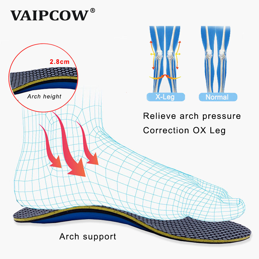 Foot Support Flat Arch Leather Orthotic Shoe Insoles High Relief Leg Correction
