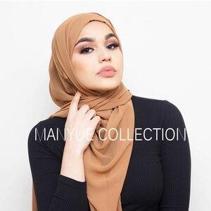 Image 2 - Шифоновый шарф большого размера 85*180 см, женский, хиджаб, мусульманская шаль, однотонная длинная шаль, большой головной убор, женские жоржетты
