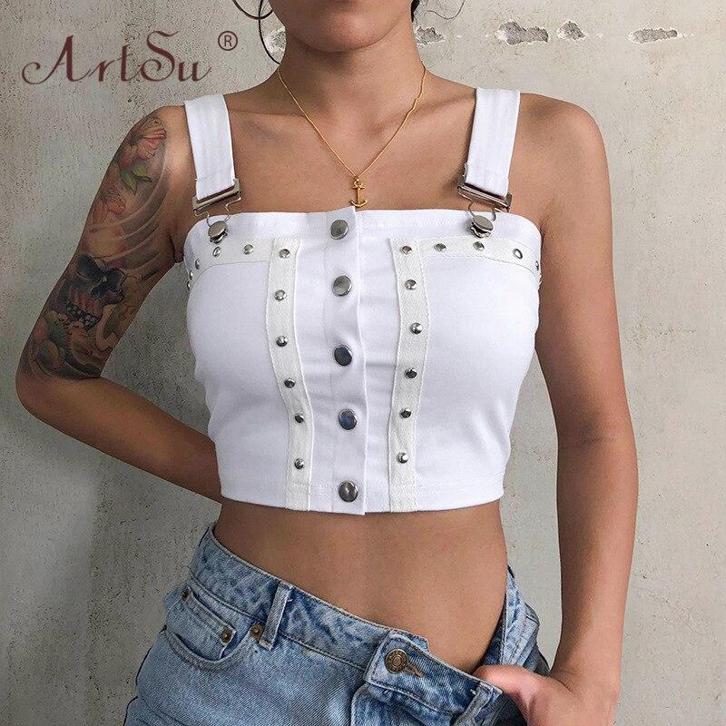 ArtSu Punk Gothic Summer Women Cropped Tank Top Black White Sexy Rivet Buckle Streetwear Club Cool Fashion Crop Tops Camisole 1