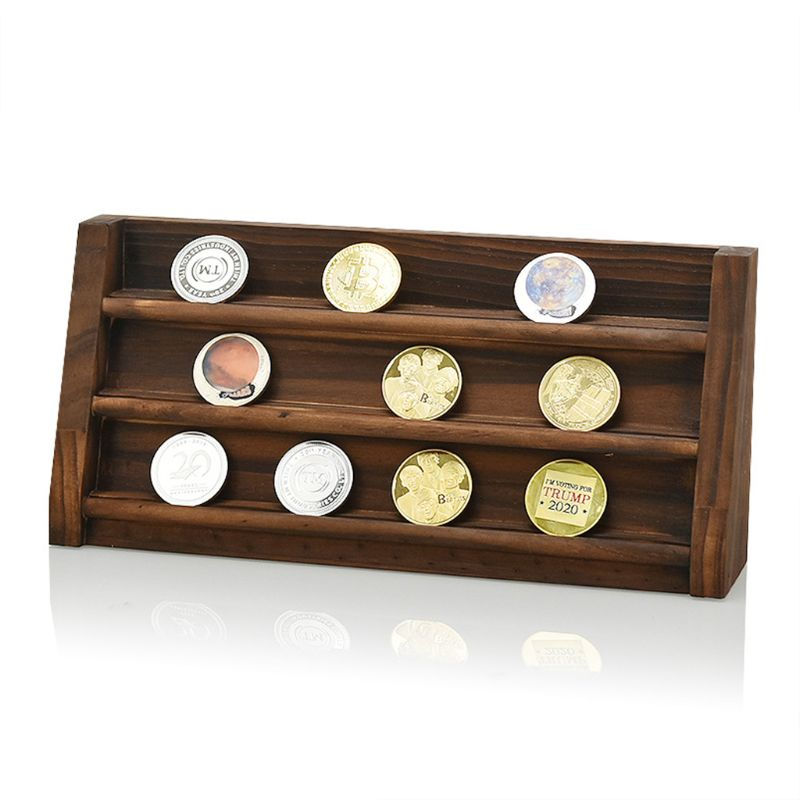 Coin Display Stand Rack Wooden Collector Coin Storage Shelves Commemorative Coin Holder Case