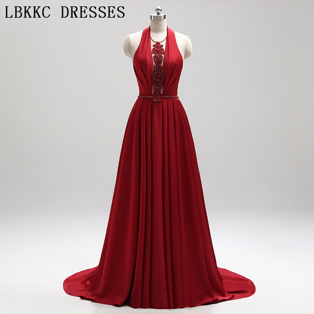 Red Prom Dresses Sleeveless V Neck Backless Vestido De Festa Gala Jurken Floor Length Prom Long Elegant Dresses