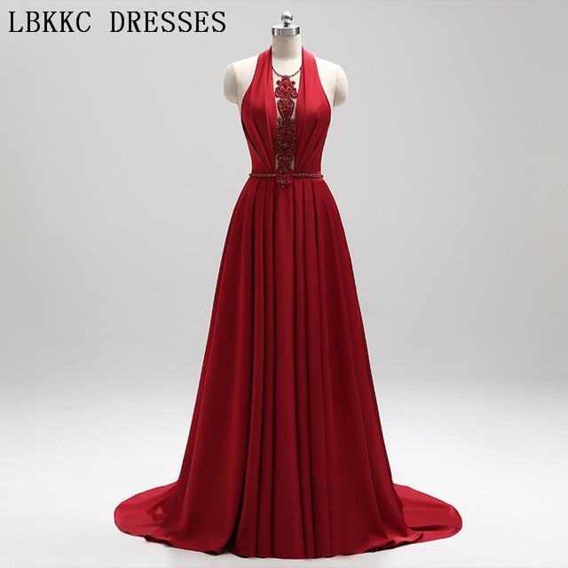 Red Prom Dresses Sleeveless V Neck Backless Vestido De Festa Gala Jurken Floor Length Prom Long Elegant Dresses