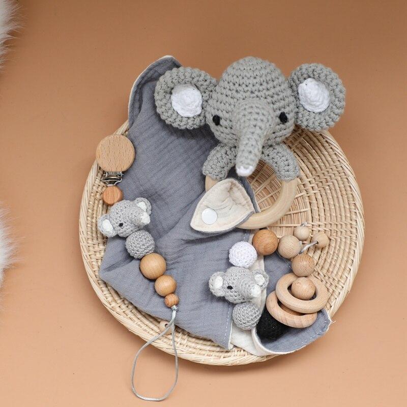 Wholesale Crochet Elephant Series Bib And Baby Rattle Teethers Set Wodden Bracelet & Cotton Bib Pacifier Clips For Kids Toys