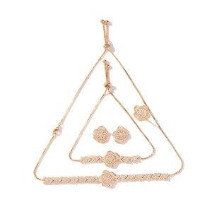 Image 5 - Conjunto de joyería con diseño de flor para mujer, collar, pendientes, pulsera y anillo, fiesta, circonio de boda, CN1026