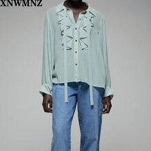 Xnwmnz za 2020 женская блузка с оборками воротник рубашки бантом