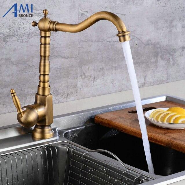 Amibronzeホームセンターアクセサリーアンティーク真鍮の台所の蛇口 360 スイベル浴室の洗面台のシンクミキサータップクレーン