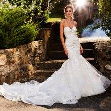 Женское свадебное платье русалка, элегантное платье с кружевной аппликацией, вырезом сердечком и открытой спиной, расшитое бисером