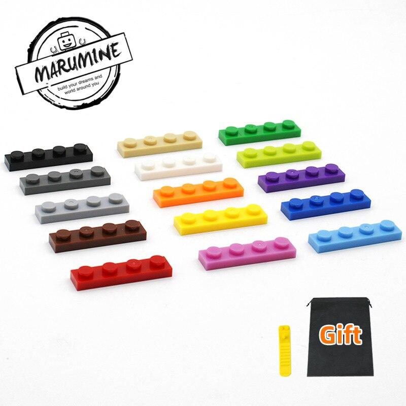 MARUMINE 300PCS 1 X 4 Blocks Base Plate Building Bricks Classic Educational MOC Construction Toys Compatible All Major Brands
