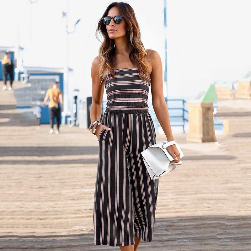 produits chauds belle et charmante artisanat exquis Été femmes top dos nu costume mode rayé plage décontracté combinaison  pantalon large jambe pantalon pour les femmes