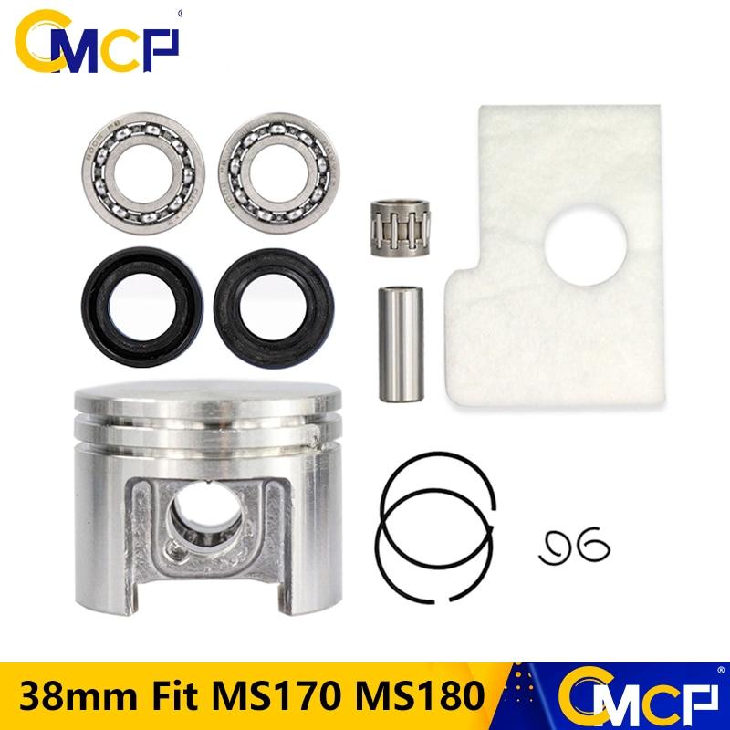 38mm Motor Piston Kit Crankshaft Bearing Oil Seals Kit Fit Stihl Chainsaw MS180 MS170 Chainsaw Spare Parts