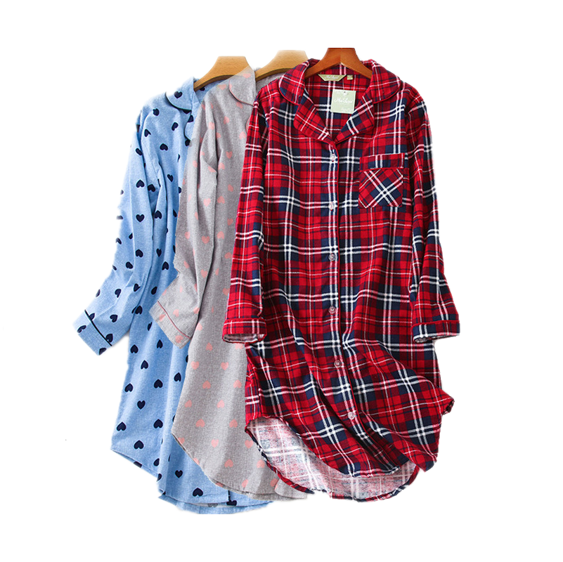 2020 Spring Checked Sleepshirts Women Nightgown Female Turn-down Collar Nightdress Ladies Cotton  Nighty Plaid Home Wear Dress