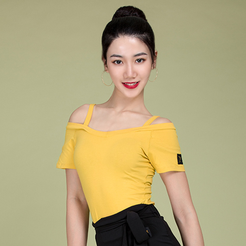 Latin Dance Shirts Ladies Short Sleeve Ballroom Latin Top For Women Rumba Cha Cha Samba Dancing Clothes Practice Wear DN4078