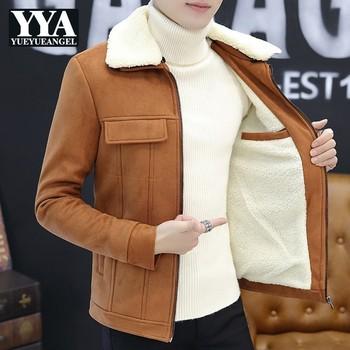 Winter Fur Collar Detachable Mens Warm Lamb Coats Fashion Long Sleeve Zipper Slim Fit Male Plus Size Thick Jackets Streetwear