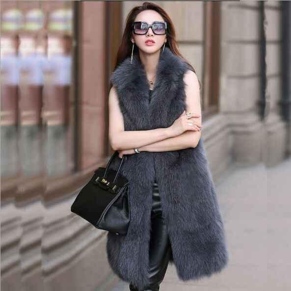 Harajuku de lujo de imitación de piel de zorro Gilet mujer de estilo largo 2017 Nuevo Chaleco de piel caliente de invierno Chaleco de piel de imitación para mujer XL760
