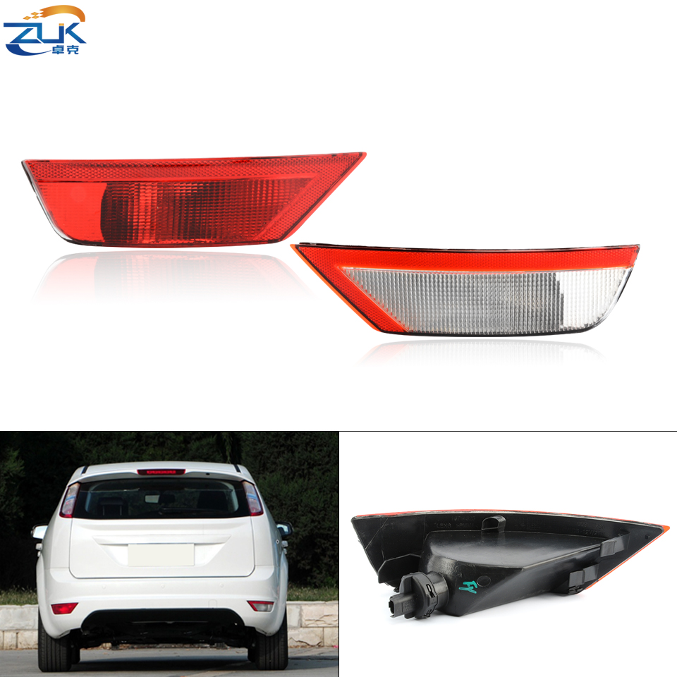 ZUK Left Right Rear Bumper Fog <font><b>Light</b></font> Fog Lamp Reflector For <font><b>Ford</b></font> <font><b>Focus</b></font> Classic 2009 2010 2011 <font><b>2012</b></font> 2013 2014 2015 With Lamp Bulb image